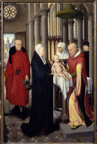 La presentation au Temple. Detrempe sur bois de Hans Memling (1433-1494), 1470 environ. Madrid. musee du Prado.jpg