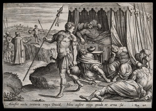 David vole une lance et une cruche de Saül, qui se trouve profondément dans un sommeil imposé par Dieu 1S26 (Copier).jpg