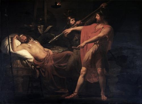 David retient le bras d'Abigail  sur le point de tuer Saul dans son sommeil Peinture de Carlo Bellosio (2).jpg