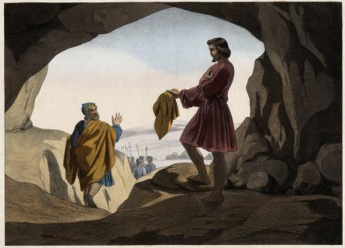 David montrant à Saul le morceau de son manteau Anonyme 19e gravure (2).jpg