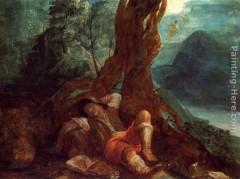 Le rêve de Jacob; ELSHEIMER, Adam;  vers 1600, huile sur cuivre; Städelsches Kunstinstitut, Francfort.jpg