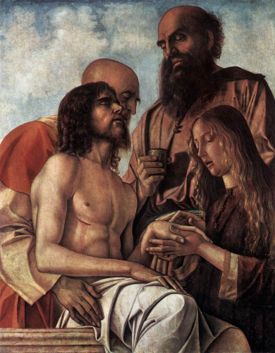 bellini - Pieta. 1471-1474. Oil on panel. 106 x 84 cm. Pinacoteca Vaticana, Vatican.jpg