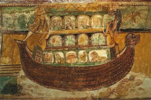 Saint-Savin sur Gartempe, Abbaye St-Savin et St-Cyprien, Peinture de la voute, L'arche de Noe.jpg