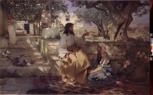 Christ dans la maison de Marthe et Marie. Peinture de Henryk Siemiradzki huile sur toile, 1886.   State Russian Museum,.jpg