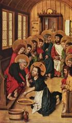 Maître du Livre de Raison (Hausbuchmeister, actif entre 1475 et 1490)  le lavement des pieds. Panneau gauche d'un retable de la Passion du Christ. Vers. 1475. Berlin, Gemäldegalerie..jpg
